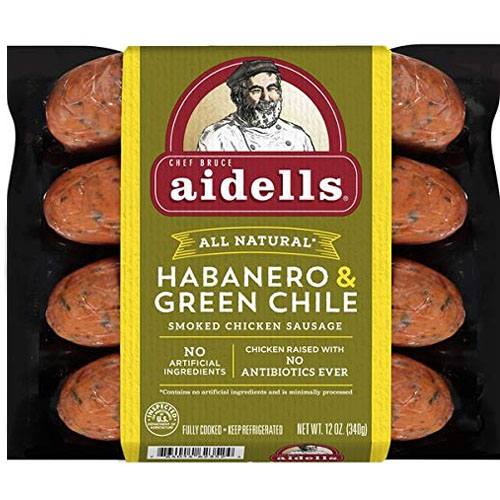 AIDELLS ALL NATURAL HABANERO & GREEN CHILE SMOKED CHICKEN SAUSAGE 12oz.