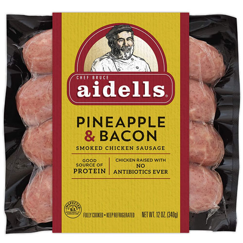 AIDELLS ALL NATURAL PINEAPPLE & BACON CHICKEN SAUSAGE 12oz.