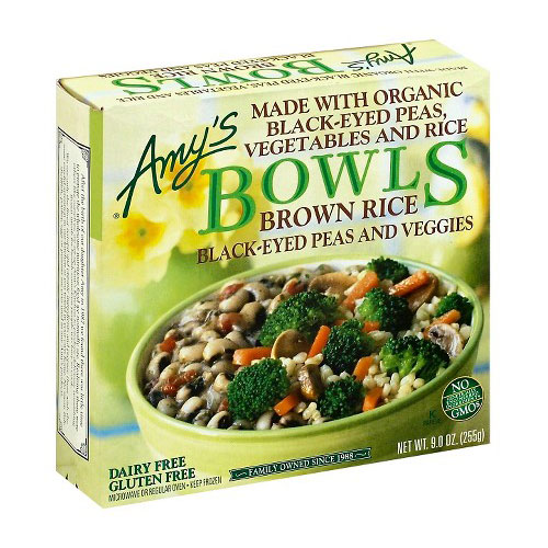 AMY'S BOWLS BROWN RICE BLACK EYED PEAS VEGGIES 9oz.