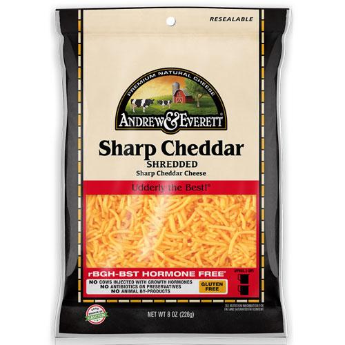 ANDREW & EVERETT SHREDDED SHARP CHEDDAR 8oz
