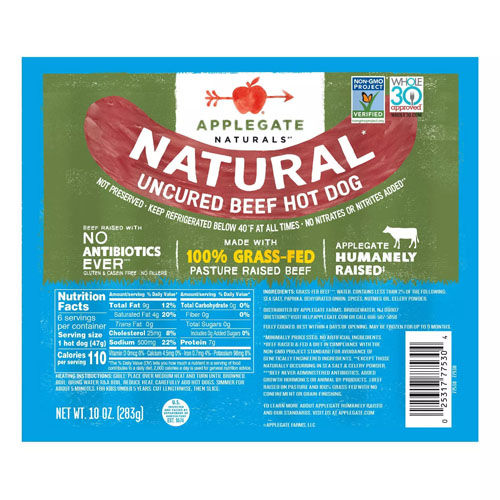 APPLEGATE NATURALS UNCURED BEEF HOT DOG 10oz.