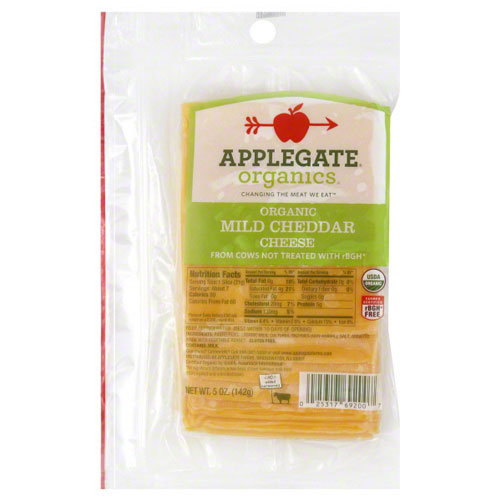 APPLEGATE ORGANIC SLICED CHEDDAR CHEESE MILD 5oz.