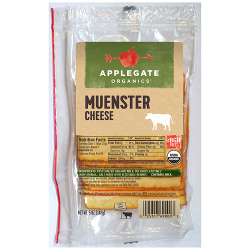 APPLEGATE ORGANIC SLICED MUENSTER CHEESE 5oz.
