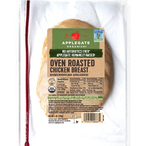 APPLEGATE ORGANICS OVEN ROASTED CHICKEN BREAST 6oz