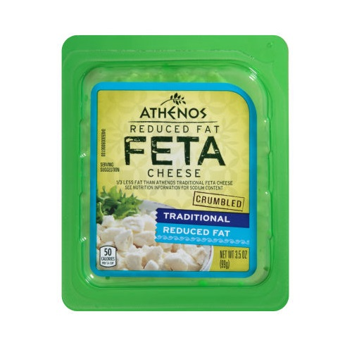 ATHENOS FETA CHEESE CRUMBLED  TRADITIONAL REDUCED FAT 3.5oz.