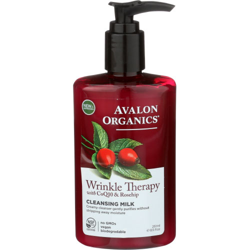 AVALON ORGANICS WRINKLE THERAPY WITH CoQ10 & ROSEHIP CLEANSING MILK 8oz