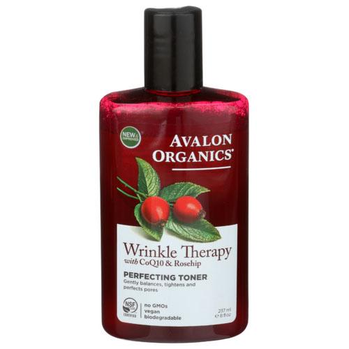 AVALON ORGANICS WRINKLE THERAPY WUTH CoQ10 & ROSEHIP PERFECTING TONER 8oz