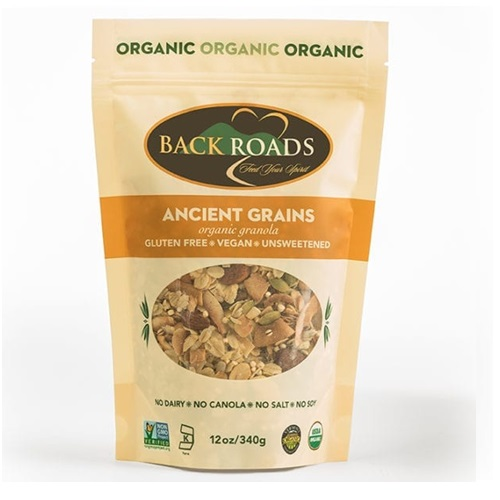 BACK ROADS GLUTEN FREE ORGANIC GRANOLA ANCIENT GRAINS 12oz