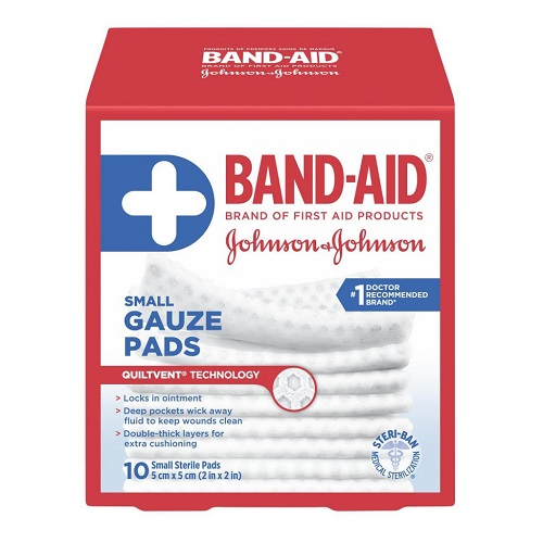 BAND-AID SMALL GAUZE 2in X 2in 10pads