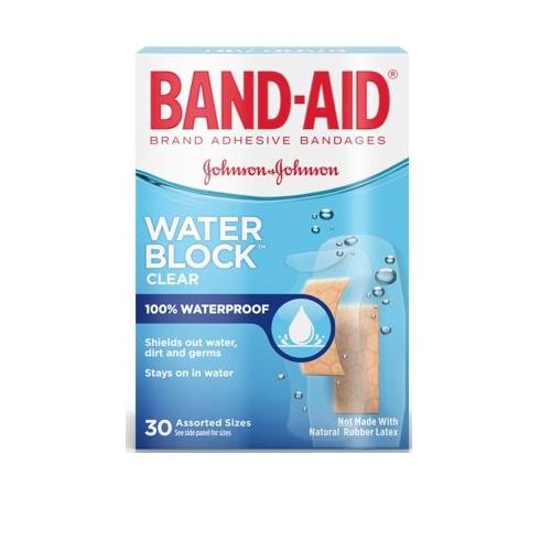 BAND-AID WATER BLOCK CLEAR ADHESIVE BANDAGES 30pcs