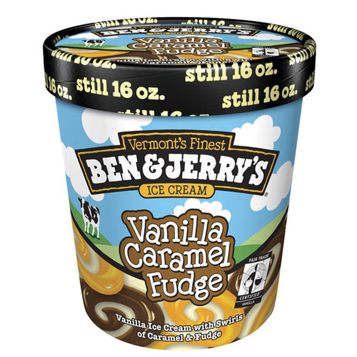 BEN JERRYS ICE CREAM VANILLA CARAMEL FUDGE 1pt