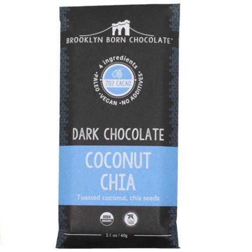 BROOKLYN BORN CHOCOLATE VEGAN PALEO DARK CHOCO COCONUT CHIA 2.1oz