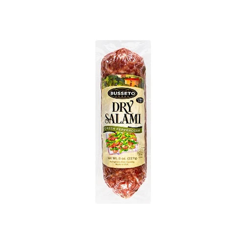 BUSSETO DRY SALAMI GREEN PEPPERCORN 8oz