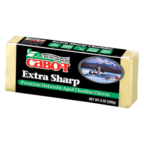 CABOT CHEESE BLOCK NY EXTRA SHARP CHEDDAR CHEESE WHITE 8oz.