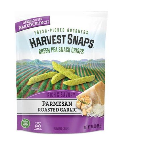 CALBEE HARVEST SNAPS GREEN PEA CRISPS PARMESAN ROASTED GARLIC 3oz.