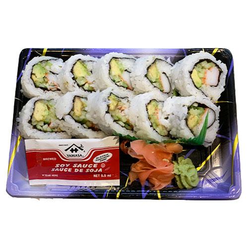 California Roll (Rice, Avocado, Cucumber, Imitation Crab, Seaweed, Vinegar, Sugar, Salt)
