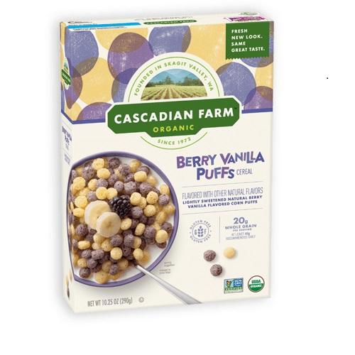CASCADIAN FARM ORGANIC CEREAL BERRY PUFFS VANILLA 10.25oz