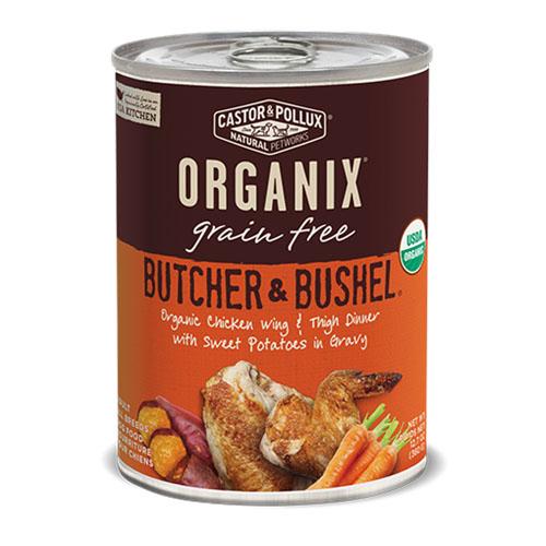 CASTOR & POLLUX ORGANIX GRAIN FREE DOG FOOD BUTCHER &BUSHEL CHICKEN WING & THIGH DINNER 12.7oz