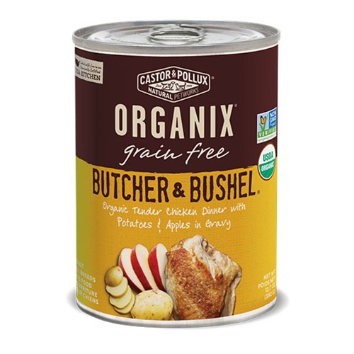 CASTOR & POLLUX ORGANIX GRAIN FREE DOG FOOD BUTCHER &BUSHEL TENDER CHICKEN DINNER 12.7oz
