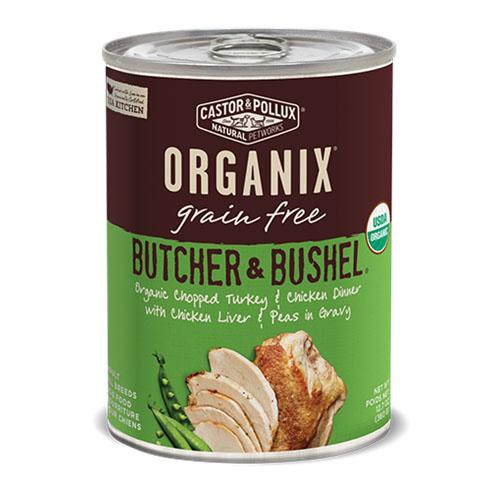 CASTOR & POLLUX ORGANIX GRAIN FREE DOG FOOD BUTCHER &BUSHEL TURKEY & CHICKEN DINNER 12.7oz