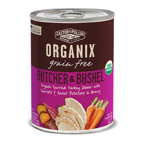 CASTOR & POLLUX ORGANIX GRAIN FREE DOG FOOD BUTCHER &BUSHEL TURKEY DINNER 12.7oz