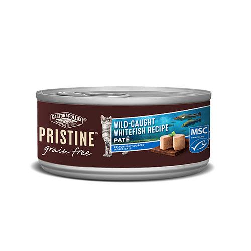 CASTOR&POLLUX PRISTINE GRAIN FREE CAT FOOD WILD CAUGHT WHITEFISH IN GRAVY 3oz