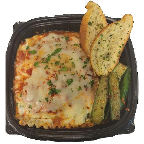 CHEESE LASAGNA (Ricotta, Egg, Fresh Mozzarella, Marinara with Garlic Bread and Zucchini Stick)