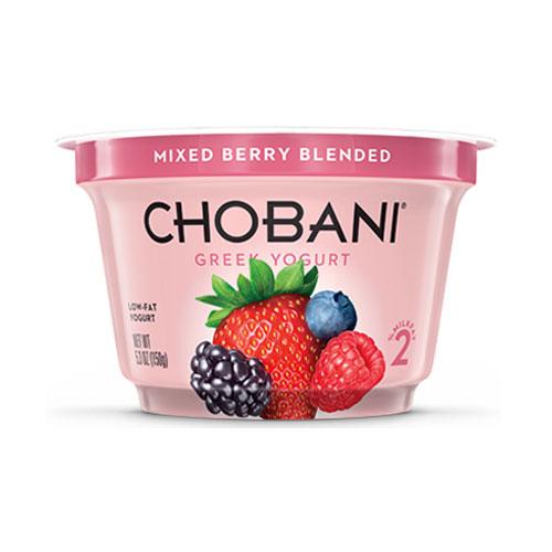 CHOBANI GREEK YOGURT LOW FAT 2% MIXED BERRY BLENDED 5.3oz