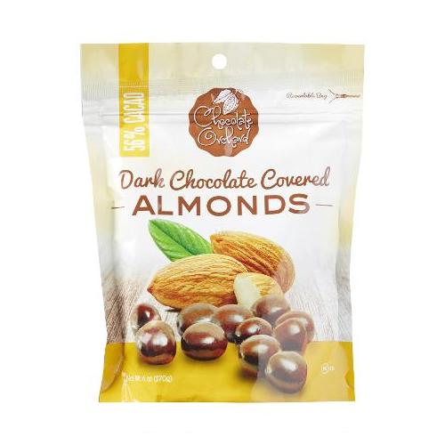 CHOCOLATE ORCHARD DARK CHOCOLATE COVERED ALMONDS 6oz