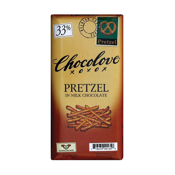 CHOCOLOVE MILK CHOCOLTAE BAR PRETZEL 2.9oz