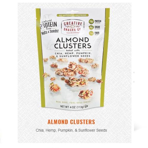 CREATIVE SNACKS ALMOND CLUSTERS WITH CHIA, HEMP, PUMPKIN & SUNFLOWER SEEDS 4oz