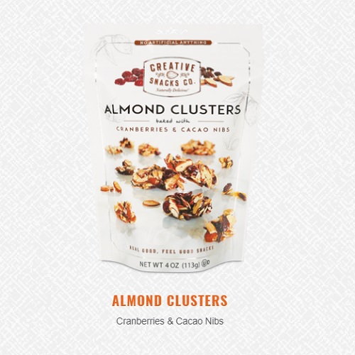 CREATIVE SNACKS ALMOND CLUSTERS WITH CRANBERRIES & CACAO NIBS 4oz