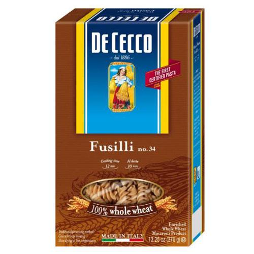 DE CECCO FUSILLI WHOLE WHEAT #34 13.25oz