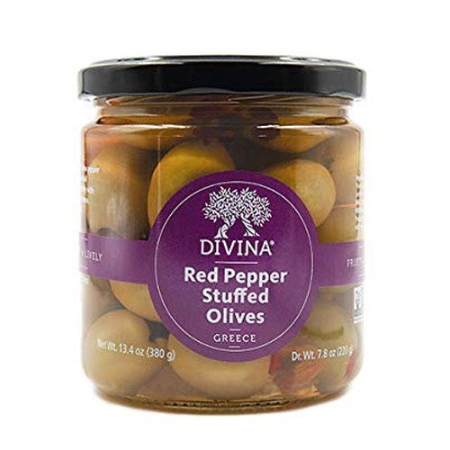 DIVINA RED PEPPER STUFFED OLIVES 7.8oz