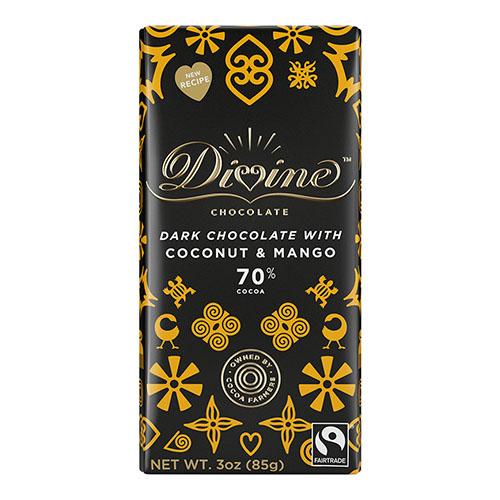 DIVINE DARK CHOCOLATE WITH COCONUT&MANGO 3oz