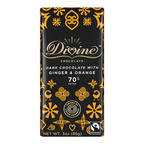 DIVINE DARK CHOCOLATE WITH GINGER&ORANGE 3oz