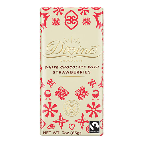 DIVINE WHITE CHOCOLATE WITH STRAWBERRIES 3oz