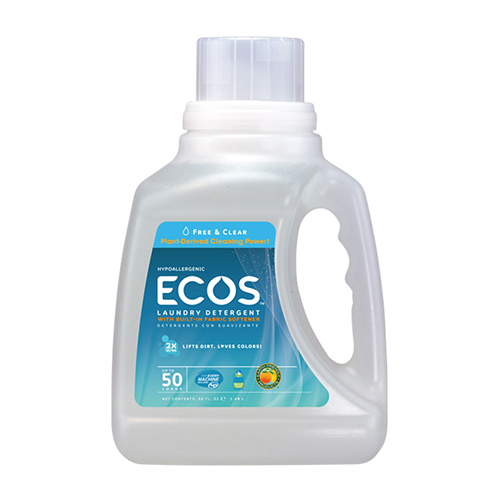 ECOS LAUNDRY DETERGENT WITH FABRIC SOFTENER FREE & CLEAR 50oz.