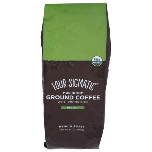 FOUR SIGMATIC MUSHROOM GROUND COFFEE WITH PROBIOTICS DEFEND MEDIUM ROAST 12oz