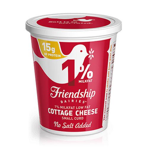 FRIENDSHIP 1% COTTAGE CHEESE NO SALT 16oz.