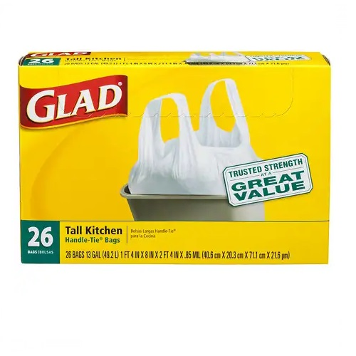 GLAD 13 GAL TALL KITCHEN TRASH BAGS HANDLE-TIE 26ct