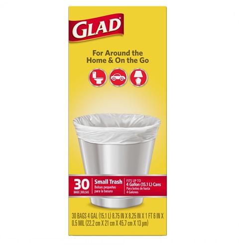 GLAD 4 GAL SMALL TRASH BAGS 30ct