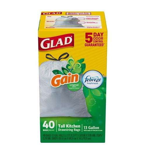 GLAD GAIN 13 GAL TALL KITCHEN FEBREZE FRESHNESS 40ct