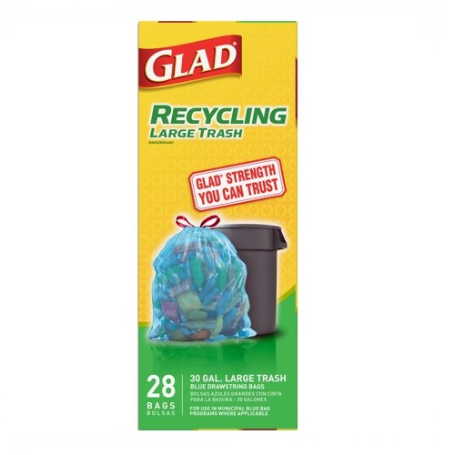 GLAD RECYCLUNG 30 GAL TALL LARGE TRASH BAGS 28ct