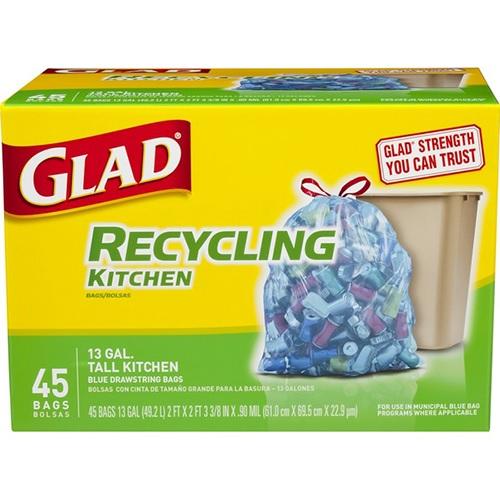 GLAD RECYLCLING KITCHEN 13 GAL TALL BLUE DRAWSTRINGS 45ct