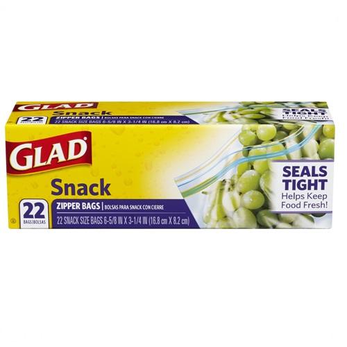GLAD SNACK ZIPPER BAGS 22ct