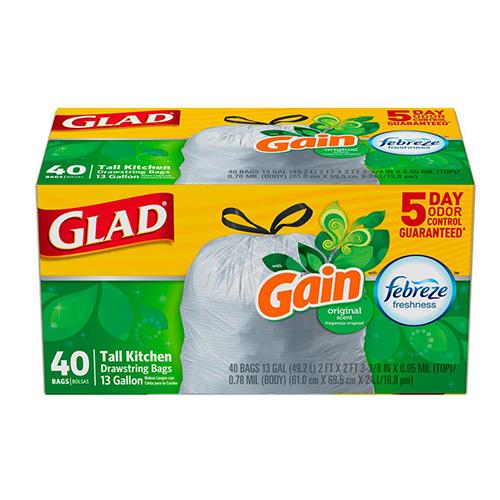 GLAD TALL KITCHEN DRAWSTRING BAGS GAIN FEBREZE 40pc