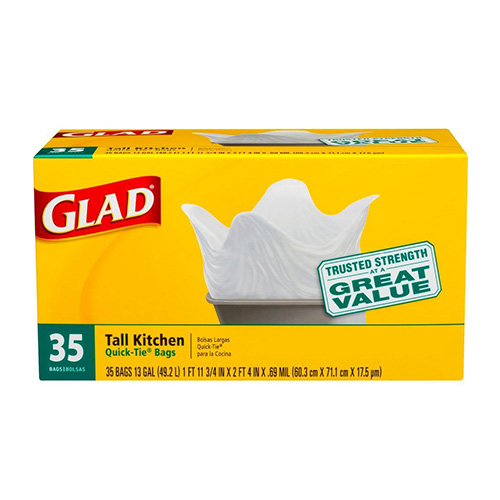 GLAD TALL KITCHEN QUICK TIE BAGS 35pc