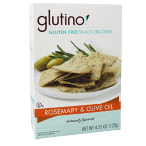 GLUTINO GLUTEN FREE SNACK CRACKERS ROSEMARY & OLIVE OIL 4.25oz
