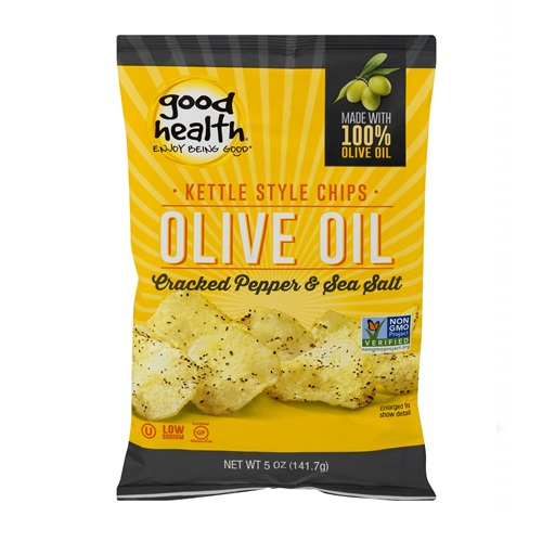 GOOD HEALTH KETTLE CHIPS OLIVE OIL CRACKED PEPPER & SEA SALT 5oz